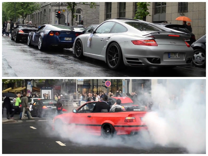 Video: Supercar Wedding Turns into Traffic Burnout Show