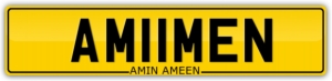 MUSLIM NUMBER PLATE FOR SALE AMIIMEN AMIN AMEEN FIRSTNAME