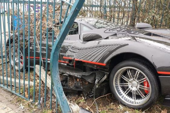 Bodyguard crashes boss' £1 MILLION Pagani Zonda supercar into a fence