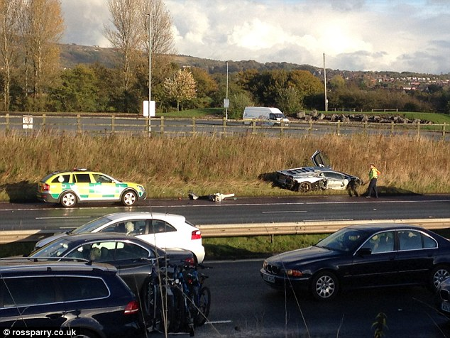 Ouch! Lamborghini left destroyed on the verge after M6 crash