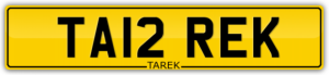 MUSLIM NUMBER PLATE FOR SALE TA12 REK TAREK TARIQ FIRSTNAME